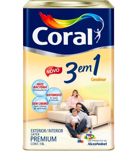 Tinta Acrílica 3 Em 1 Branco 18L - Coral